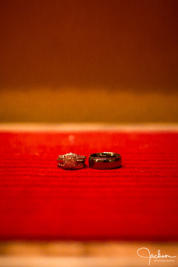 wedding rings on red fabric rothko