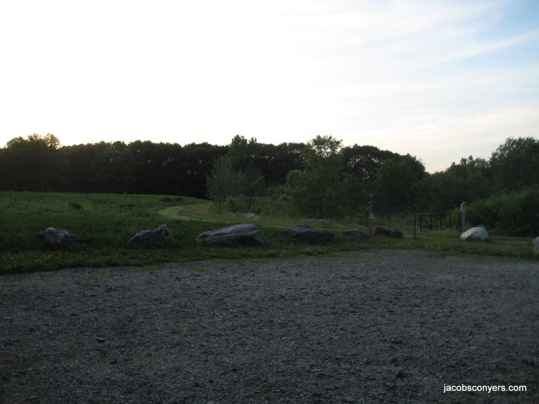 Parking area/trailhead at dusk