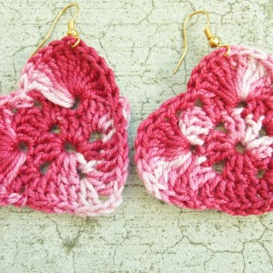 variegated pink crocheted heart earrings