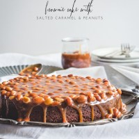 Brownie Cake with Salted Caramel & Peanut Topping