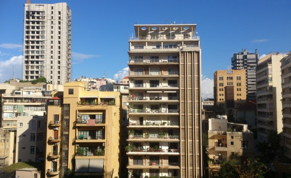 Tall apartment buildings in Al-Hamra district in Northwest Beirut, Oct 2012