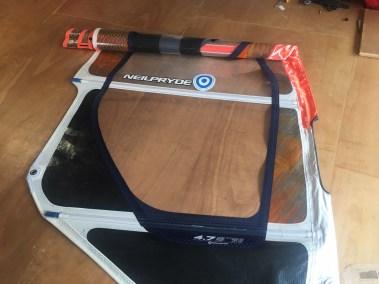 Voilerie J'ai cassé ma voile brest - réparation voile de windsurf changement de panneau monofilm neilpryde combat réparée