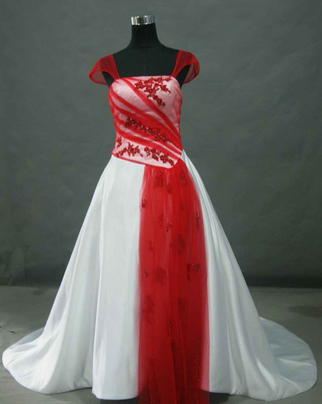 bridal gown red wedding dresses Red and White Wedding dress