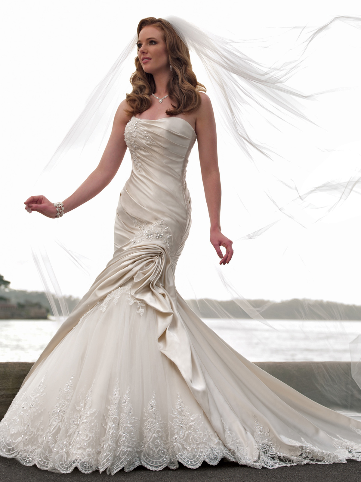 AA strapless mermaid wedding dresses strapless mermaid wedding dress with lace