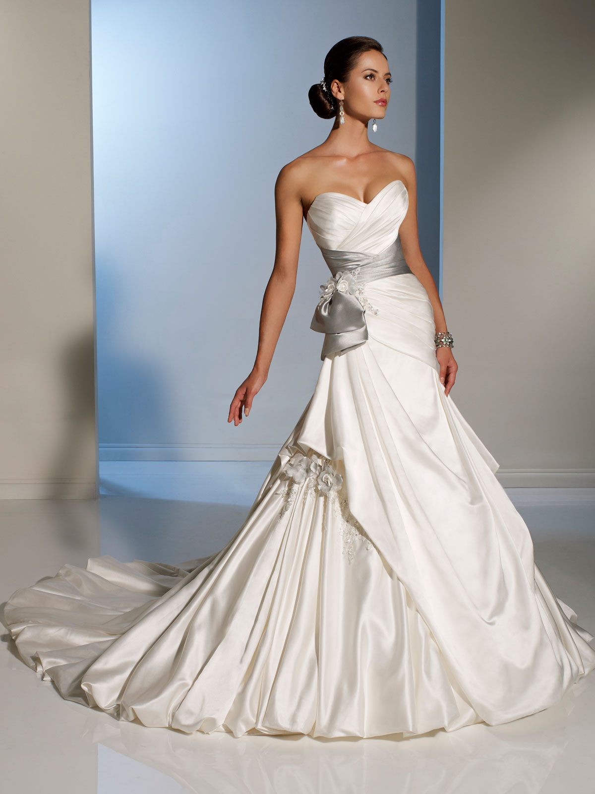 Bridal gowns with color wedding dresses with color Side Draped Wedding Dress with silver sash