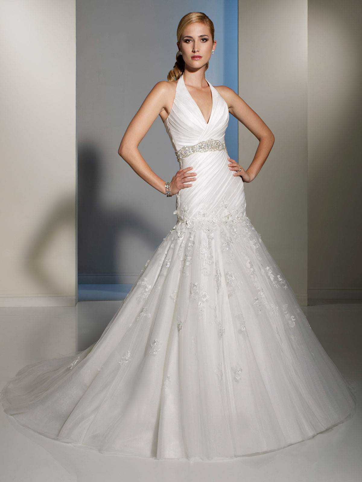 halter wedding gown halter top wedding dresses Halter dropped waist lace wedding dress with crystal waistband
