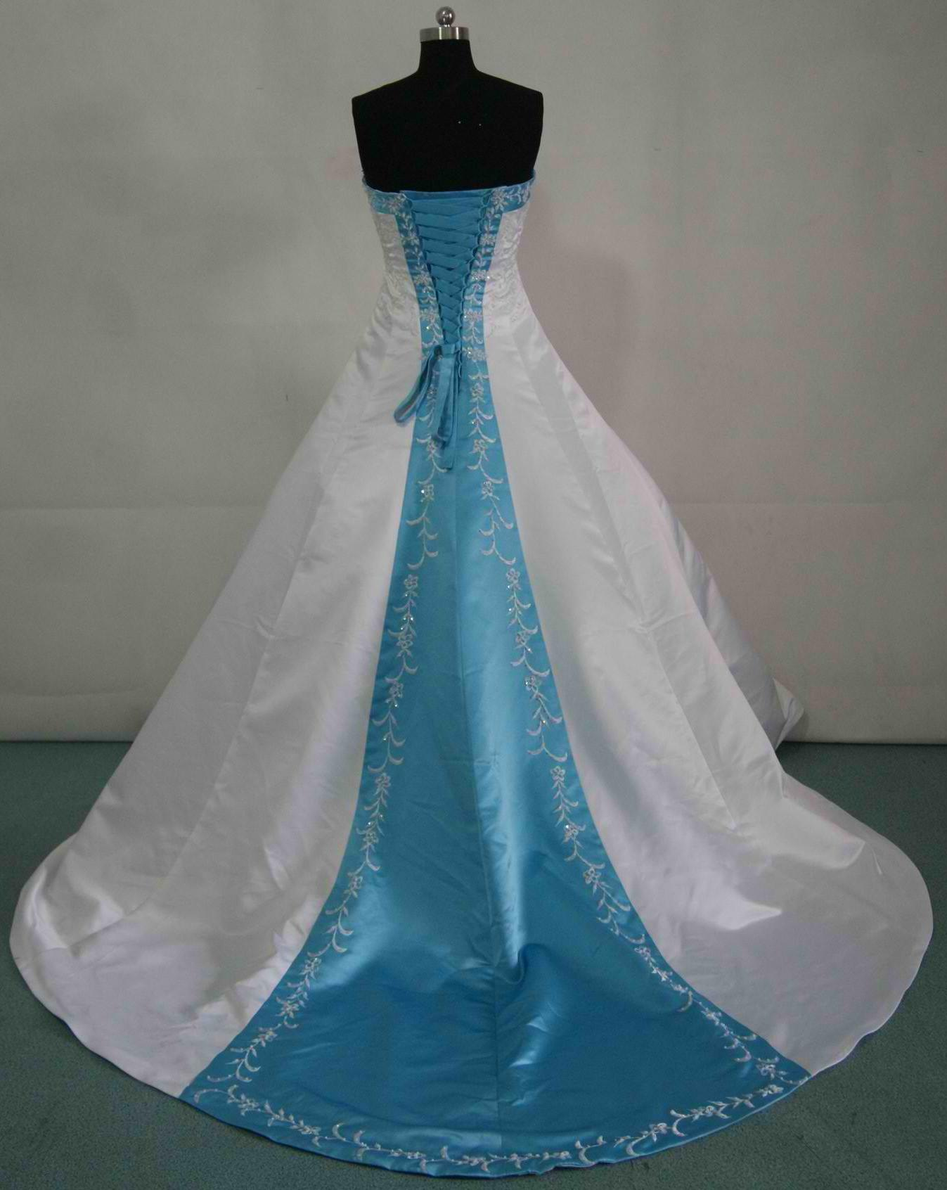 Bridal gowns with color blue wedding dresses white and pool blue wedding gown