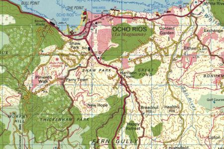 ocho rios topo map