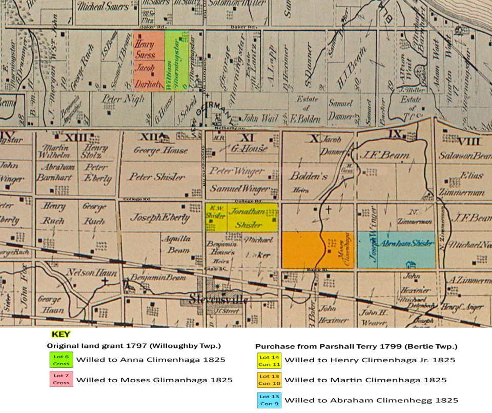 Henry Climenhagen's land tracts in Willoughby and Bertie Townships (superimposed on 1876 land deed map)