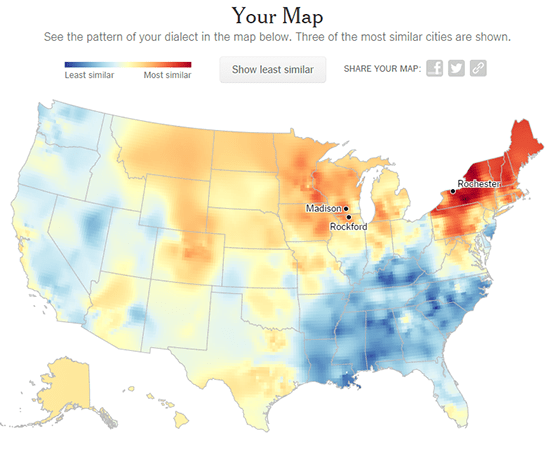 My Dialect Map is Spot-on: I grew up in the area of Rochester, New York