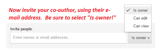 "Google Sites: How to Share Authorship with someone: enter the e-mail of your co-author, select ""Is Owner,"" and hit the ""Send"" button!"
