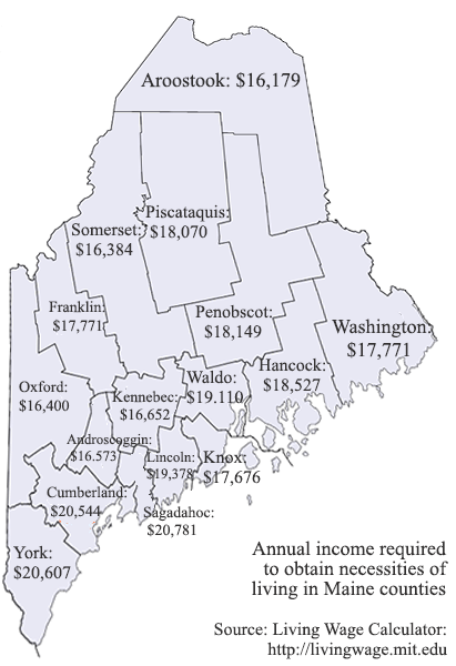 Living Wages in the counties of Maine, according to the MIT Living Wage Calculator