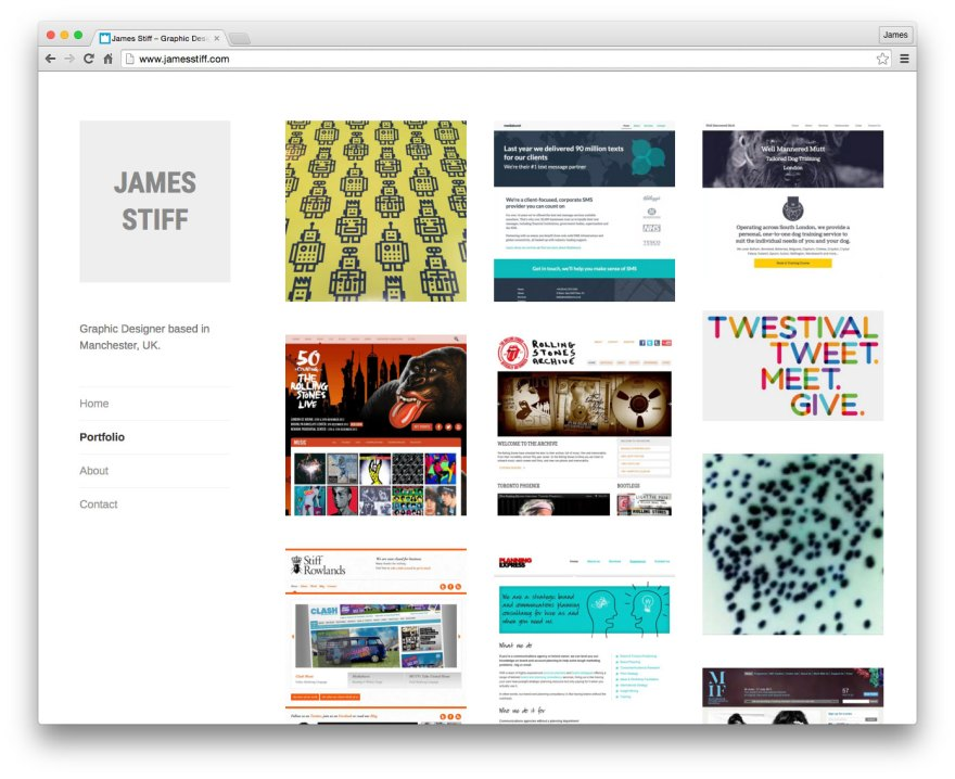 James Stiff Website: Screenshot