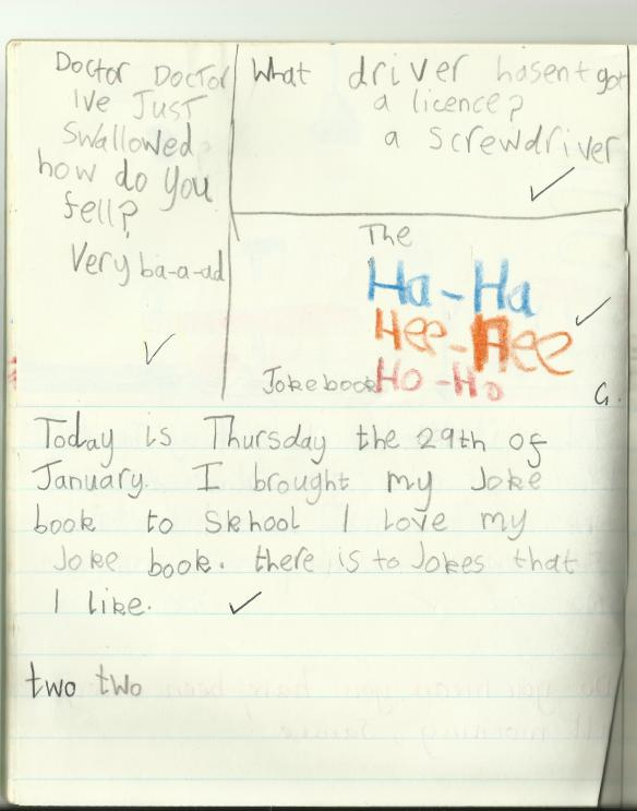 I was ahead of my time as a joke writer. At the age of seven I'd already decided that set-ups were superfluous. The real secret to comedy magic, I knew, lay in omitting integral qualifying components, spelling shit wrong and moving straight to the punch line. Hell, sometimes a free-floating punch line is all you need. 'To get to the other side! He smells terrible! I've got some cream for that! I'm here all fucking week, ladies and gentlemen.' So why, you may ask, is the narrator baa-ing when there's been no mention of sheep? Who cares??! This shit's funny! Regrettably, that joke is still funnier than anything I've written since. Nice screwdriver joke, though, Young Me. It's not my favourite screwdriver joke of all time, though. My favourite screwdriver joke is the one where this nun walks up to a broken-down bus, and she sees its driver mucking about with wires and panels. He's desperately trying to repair it, and she looks him up and down and then shouts to him: 'Do you need a screwdriver?', and he shouts back, 'Mmmmmooooooooooo!'