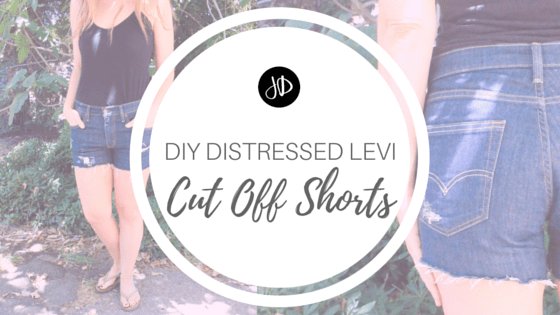 DIY Distressed Levi Cut Off Shorts
