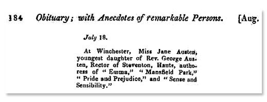 Obituário Jane Austen