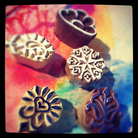 Look at these sweet hand carved stamps from india I got at the Melb craft show