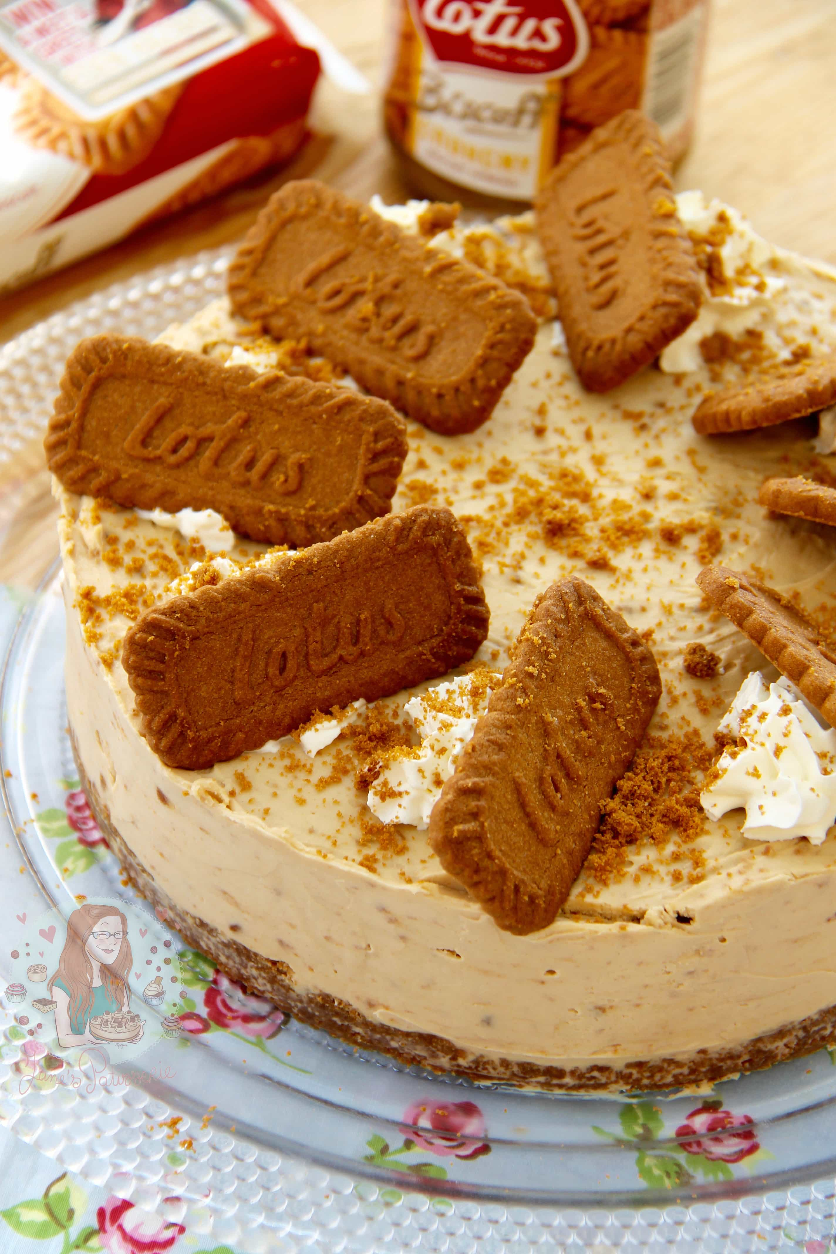 delicious No-Bake Biscoff Cookie Butter Cheesecake, sprinkled with ...