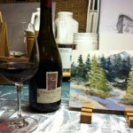 Burrowing Owl Pinot Noir in Janice Tanton's studio