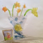Daffodils in watercolour by my son age 10