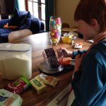 Baking brownies to celebrate school finishing for Easter