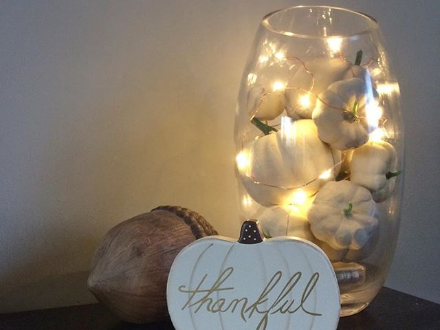 Autumn decor with chalk paint pumpkins (fairy lights aren't just for Christmas!)