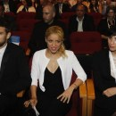 Colombian pop star Shakira sits next to her boyfriend Pique and comedienne Silverman at the 3rd annual Israeli Presidential Conference in Jerusalem
