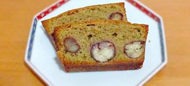 Gâteau au mâcha et châtaignes 抹茶パウンドケーキ栗のシロップ煮入り