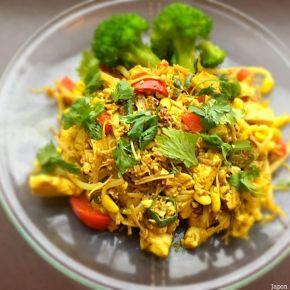 Itamemono de tofu aux légumes 豆腐と野菜の炒め物