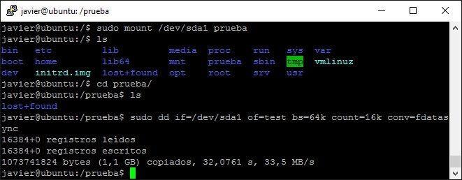 Medir la velocidad de un disco duro con Ubuntu