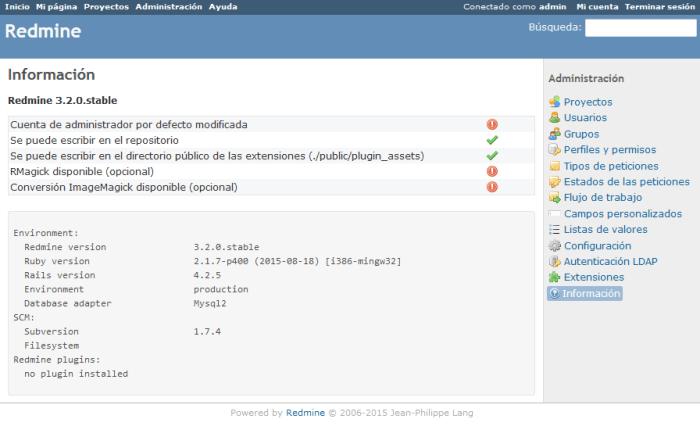 Instalar Redmine 3.2 - Paso 12 Acceso a Redmine
