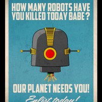 Babes vs. Robots - Retro Art Posters