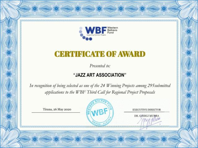 WBF Certificate to JAZZ Art Association