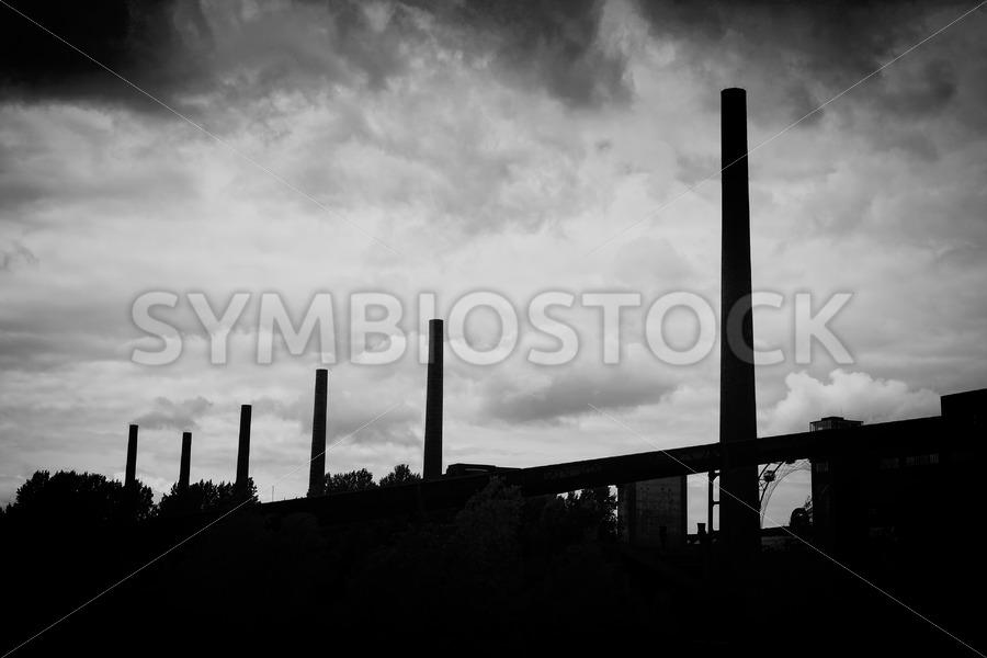 Coal washing plant chimneys - Jan Brons Stock Images