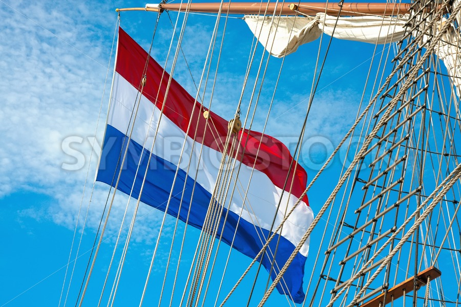 Dutch flag on Tall Ship - Jan Brons Stock Images