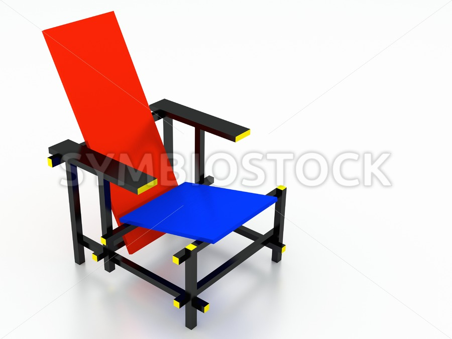 Rietveld red and blue chair. - Jan Brons Stock Images