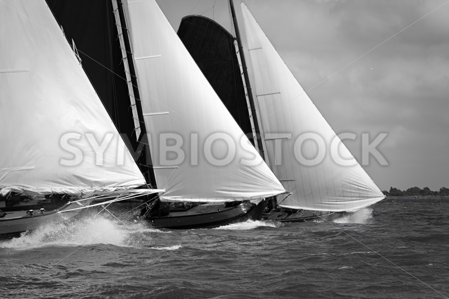 Traditional sailing ships in the midst of a regatta - Jan Brons Stock Images