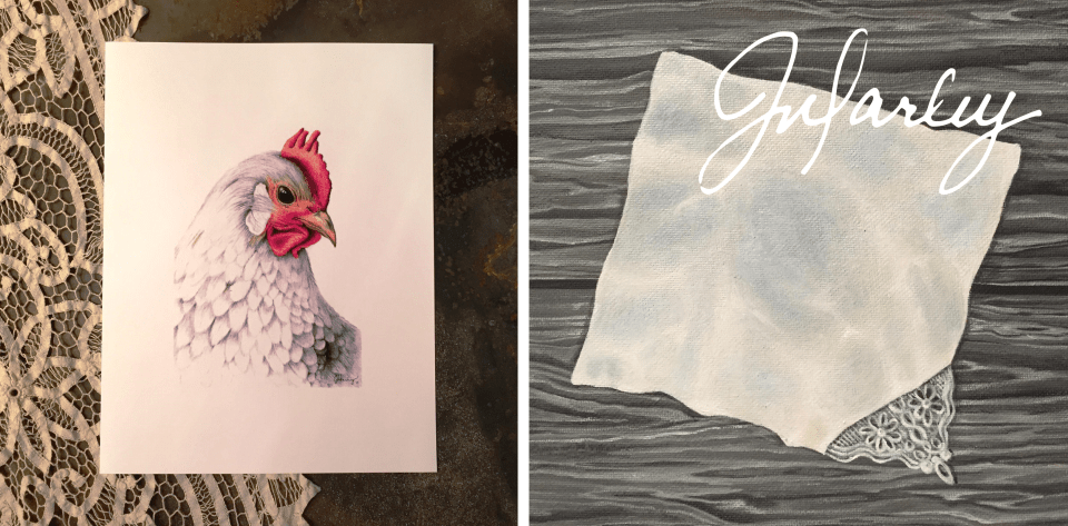 Chicken and lace handkerchief
