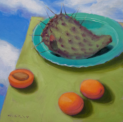 Nopal with Apricots, oil on panel, 6x6in © Jean Wilkey