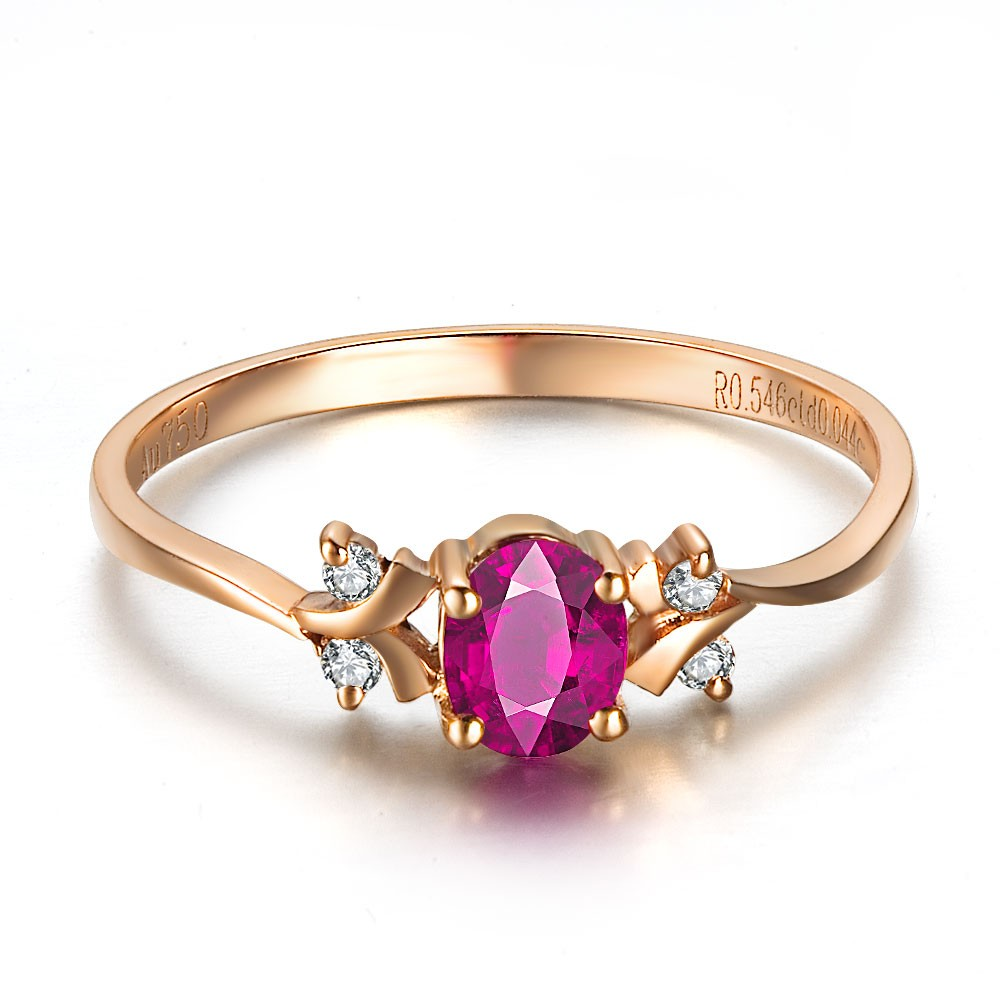 ruby and diamond engagement ring on 18k rose gold ruby wedding rings Ruby and Diamond Engagement Ring on 18k Rose Gold