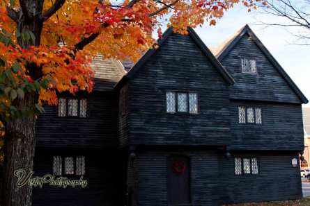 Salem Witch house with fall foliage maples