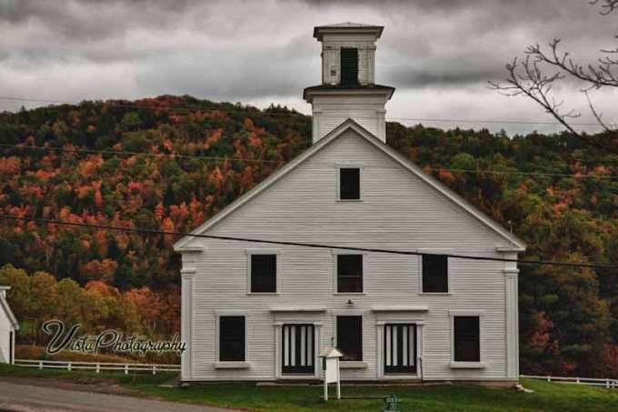 Vermont meeting house with fall color