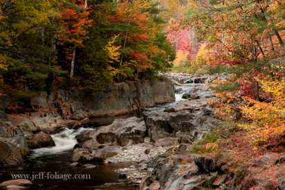 ravine in Maine with fall colors.