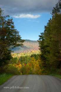 view of nearby hills covered in early fall foliage colors