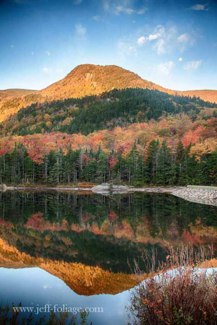 beaver pond at full peak New England fall foliage