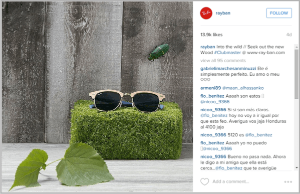Rayban example of how to make money on instagram