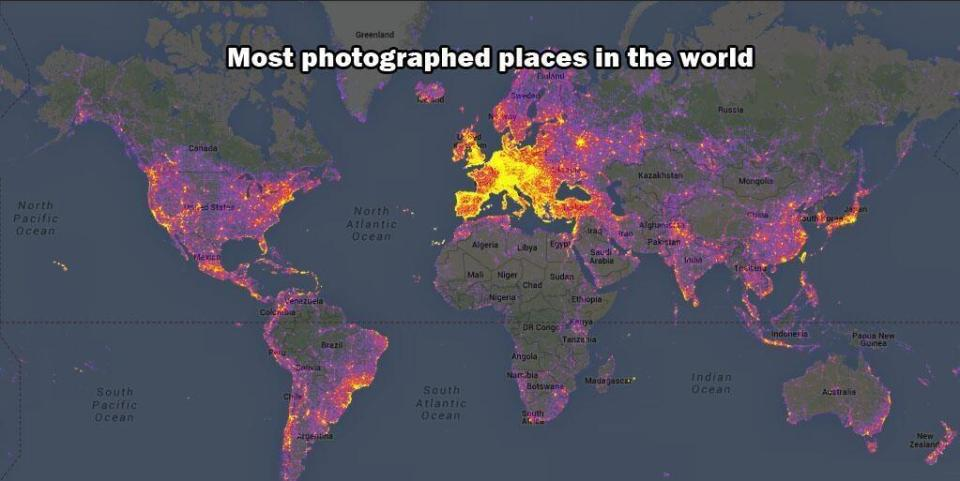 From Bluemoon.ee: World map color-coded by level of touristiness, based on analysis of photos on Panoramio. Yellow indicates high touristiness, red medium touristiness, and blue low touristiness. Areas having no Panoramio photos at all are grey. The analysis takes into account how many photos and by how many authors there are in a given area.