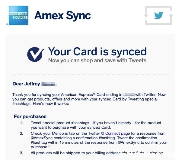 Amex Sync Email