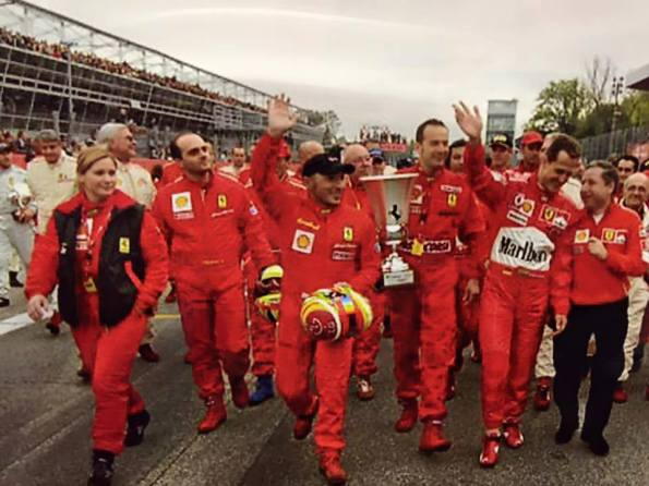 Nina Jerancic with ferrari Challenge drivers and Formula 1 champion Michael Schumacher
