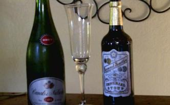 1) Stout & Champagne (or Cava in this case)